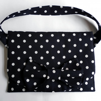 Navy and White Polka Dot Handbag  with  Bow