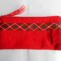 Make Up Bag, Pencil Case, Red Corduroy with Tartan Ribbon Trim