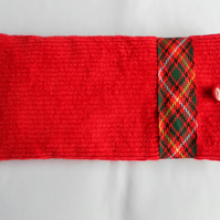 Glasses Case, Red Corduroy with Tartan Ribbon Trim