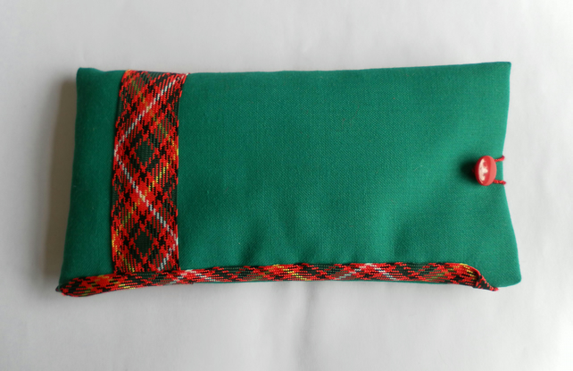 Glasses Case, Green  with Tartan Ribbon Trim