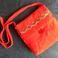 Shoulder Bag, Across Body Bag, Red Corduroy, Tartan Ribbon