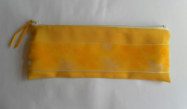 Make Up Bag, Vibrant Yellow with Cream Zip and Floral Ribbon Trim