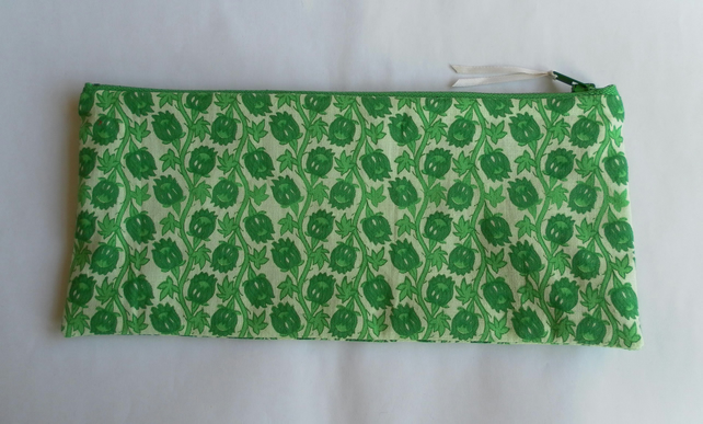 Green Floral Pencil Case or Make Up Bag