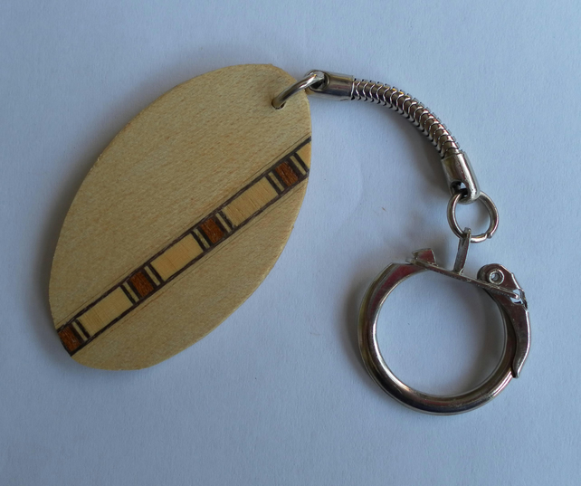 Keyring, Oval, Wood Veneer and Banding, Father's Day