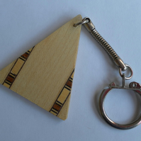 Keyring, Triangle, Wood Veneer and Banding, Father's Day