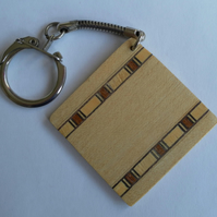 Father's Day, Keyring, Square, Wood Veneer and Banding