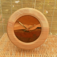 Clock, Hand Cut Wood Veneered Face and Lathe Turned Surround, Father's Day