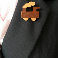 Hand Cut Wood Veneers, Marquetry Brooch, Steam Train