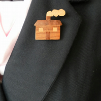 Hand Cut Wood Veneers, Marquetry Brooch, House