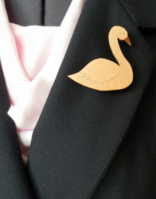 Hand Cut Wood Veneers, Marquetry Brooch, Swan