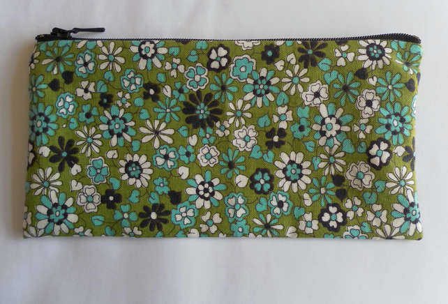 Zipped bag, make up bag, pencil case, green, turquoise, white, black floral