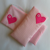 Pink and white gingham glasses case, make up bag, heart motif