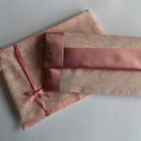 Pink, satin trimmed, glasses case and make up bag