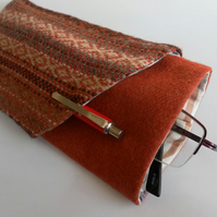 Glasses and pencil case, red-brown with wrap around pocket