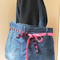 Soft blue denim, recycled jeans, shoulder bag