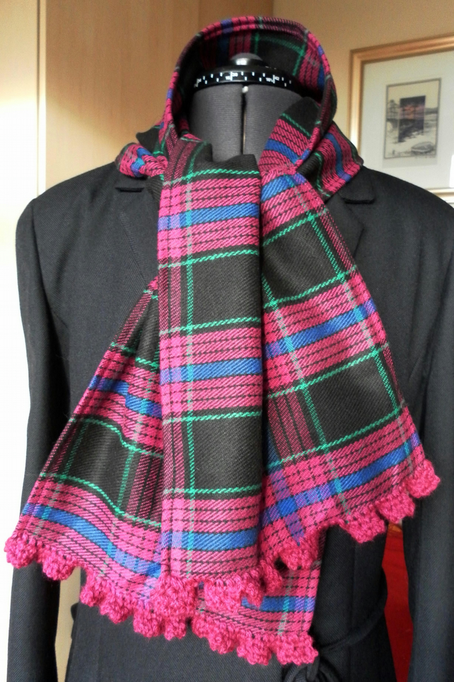 Tartan scarf, pinky purple, blue green,very dark brown, crochet edge