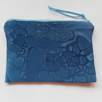 Pretty and elegant make up bag,  blue, floral, silky fabric