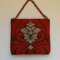 Handbag, Very elegant, red, brown, silvery grey,  chain strap.