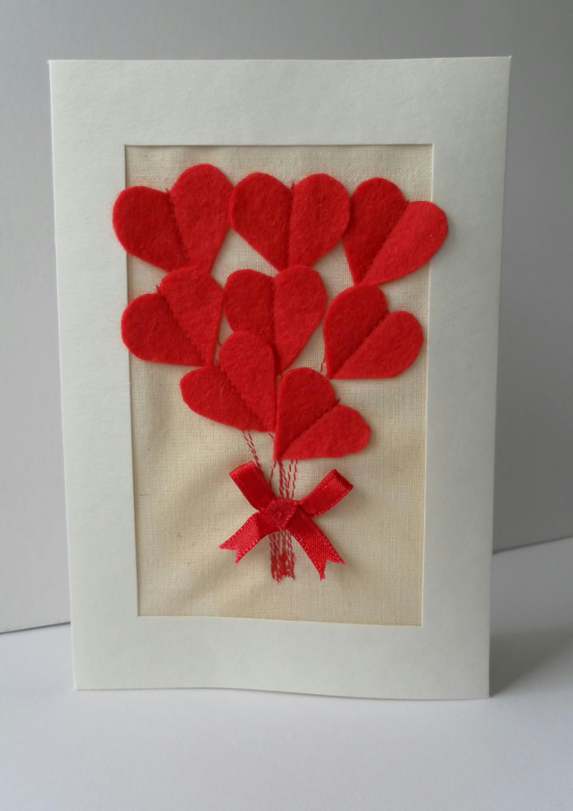 Card, Red Felt Heart Bouquet, Valentine's Day