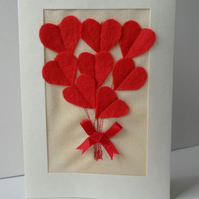 Valentine's Day Card, Red Felt Heart Bouquet