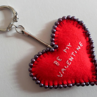 Valentine's Day, Red Felt Heart Keyring, Card, hand embroidered and beaded