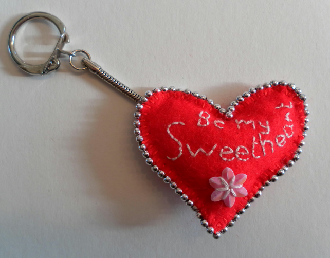 Valentine's Day, Red Felt Heart Keyring, hand embroidered and beaded