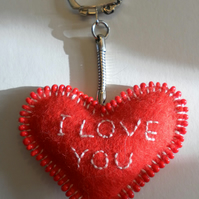 Red Felt Heart Keyring, hand embroidered and beaded, Valentine's Day