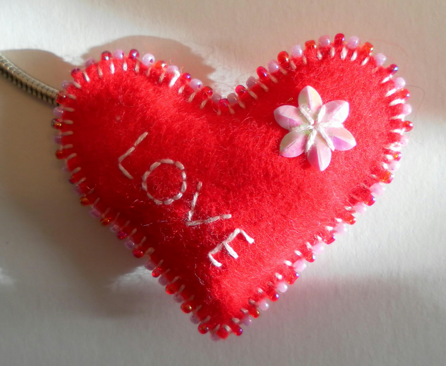 Red Felt Heart Keyring, hand embroidered and beaded