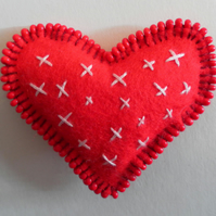 Red Felt Heart Brooch, hand embroidered and beaded, Valentine's Day