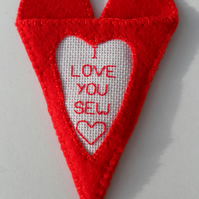 Scissors case, Red Felt Heart, hand embroidered on Aida panel, Valentine's Day