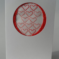 Valentine's Day Card, Red and Pink Embroidered Hearts,