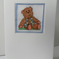 Hand sewn card, bear in waistcoat, cross stitch, birthday, father's day