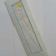 Card, sun motif, hand sewn onto Aida, keepsake bookmark,