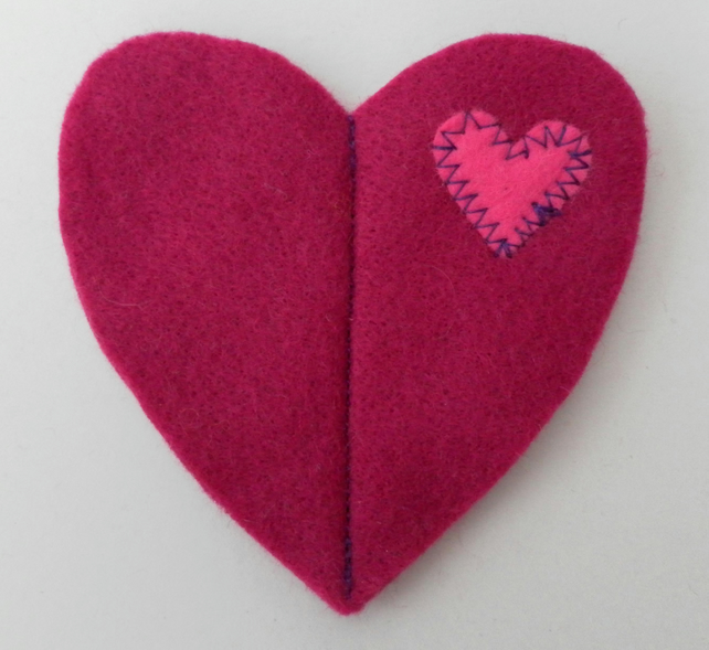 Sewing Needle Case, Dark Pink Felt Heart, Valentine's Day