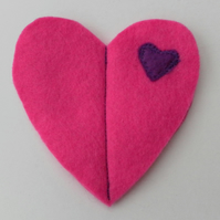 Sewing Needle Case, Pink Felt Heart