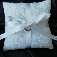 Wedding Ring Bearer Pillow, Cushion, White Lace, White Ribbon. Free postage