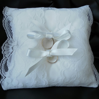 Ring Bearer Pillow, wedding, Cushion, White Lace, White Ribbon, Free postage