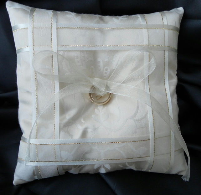Wedding Ring Bearer Pillow, Cushion, Cream  Ribbon, Cream Satin, Heart Button