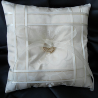 Wedding Ring Bearer Pillow, Cushion, Cream  Ribbon, Cream Satin, free postage