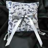Wedding Ring Bearer Pillow, Cushion, White Lace over Black, free postage