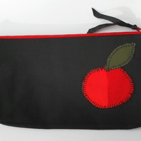 Make Up Bag, Black with Red Zip and Red Apple Appliquéd Motif
