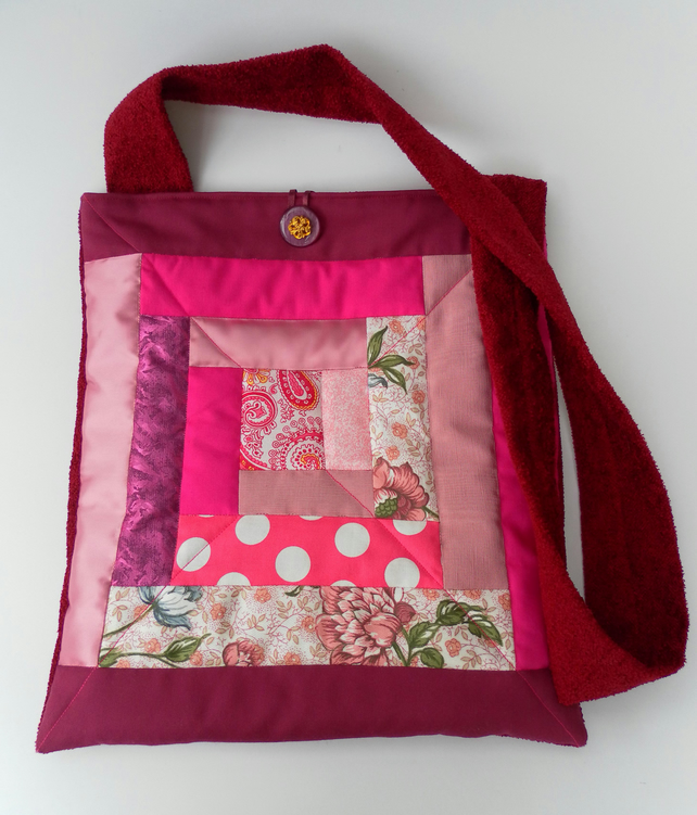 Quilted, Patchwork Shoulder Bag, Matching Coin Purse, Pink, Red