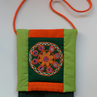 Quilted Shoulder Bag with Front Flap, Orange and Green