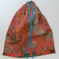 Large Drawstring Bag, Knitting, Crochet Bag, Shoe Bag, Linen Bag,Pink Floral