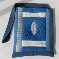 Quilted Shoulder Bag, Blue and White, Feather on Water, Ripples