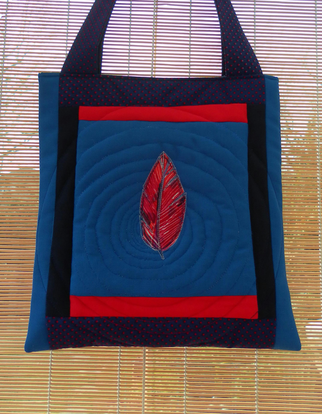 Quilted Bag, Blue and Red, Feather on Water, Ripples