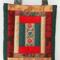 Quilted, Patchwork, Shoulder Bag, Shades of Green, Gold and Red