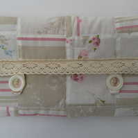Shabby Chic, Patchwork, Quilted Make Up Bag with Lace Trim
