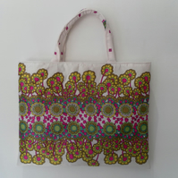 Handbag, Vintage Fabric, Multi Coloured, Stylised Floral Design