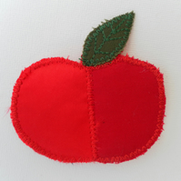 TwoTone Red Satin Brooch, Apple with Green Leaf.